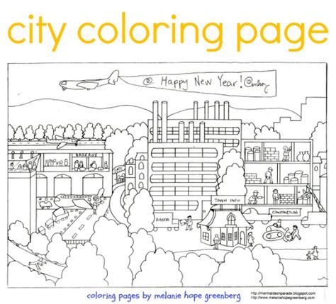 coloring book page of a city city coloring page