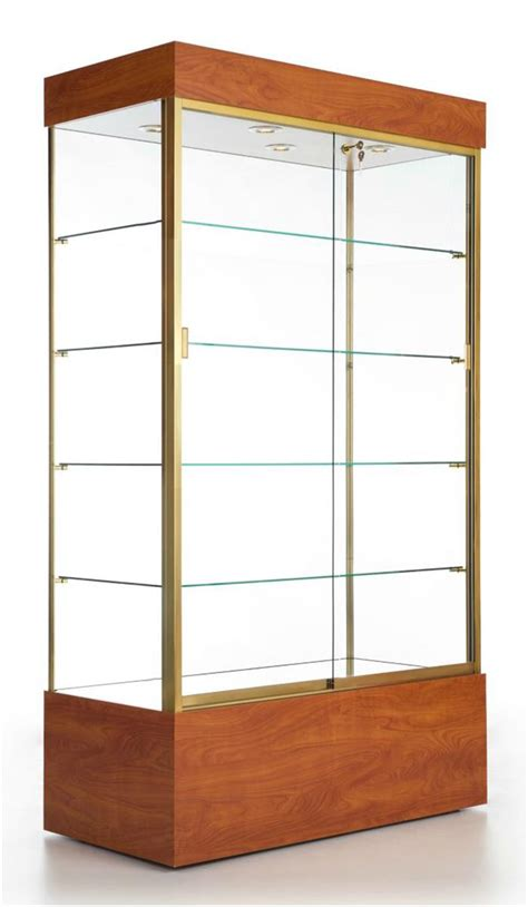 glass display case cherry finish w overhead lighting
