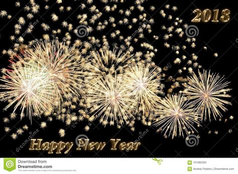 new year colors and gold happy new year 2018 text of gold color and fireworks stock