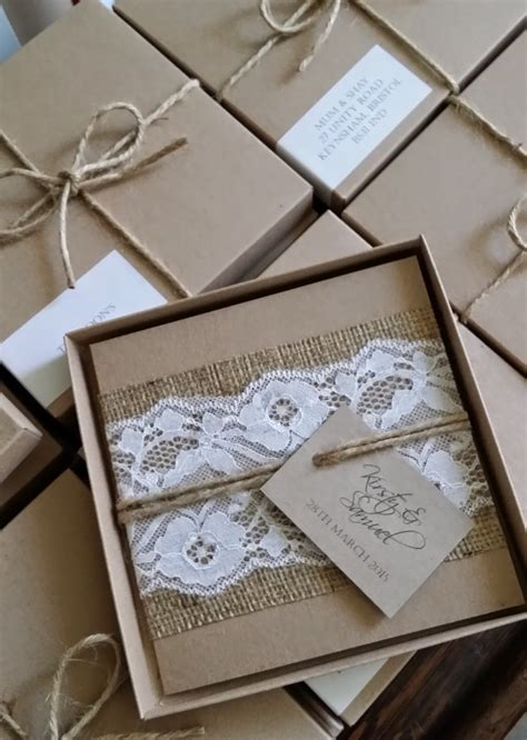 hessian wedding invitations knots and kisses wedding stationery rustic lace and hessian boxed wedding invitations