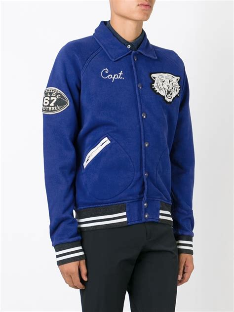 Jaket Polos Item polo ralph embroidered varsity jacket in blue for