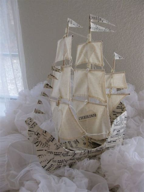 Handmade Paper Pirate Ship Folksy - sailing ship with three masts paper mache handmade
