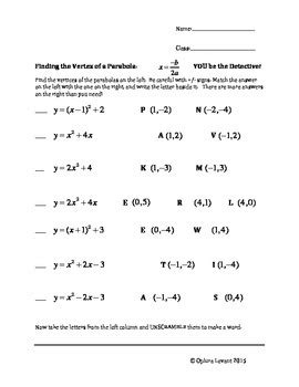 identifying parts of a parabola worksheet answers pictures parabola worksheet toribeedesign