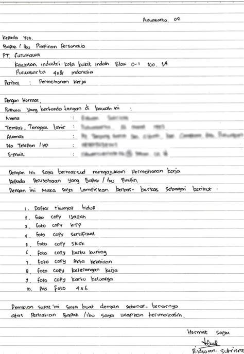 Contoh Surat Lamaran Kerja Tulisan Tangan - Contoh Surat