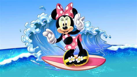 wallpaper disney minnie minnie mouse surfing sea waves images disney wallpaper hd