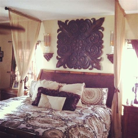 Curtains over bed home design