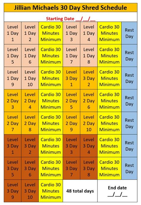 jillian michaels 30 day shred jillian michaels 30 day shred schedule diet and exercise