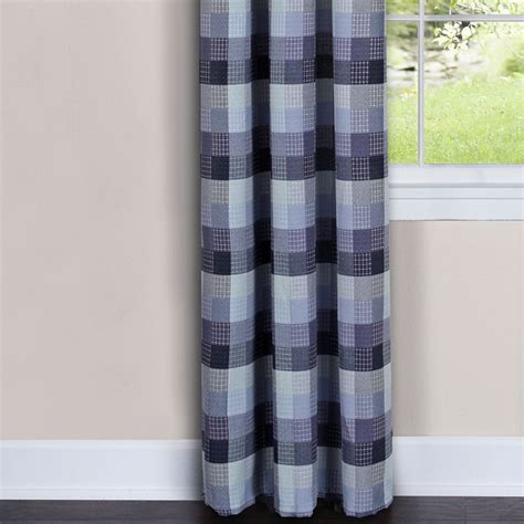 Navy Blue Plaid Curtains Plaid Shower Curtain Primitive