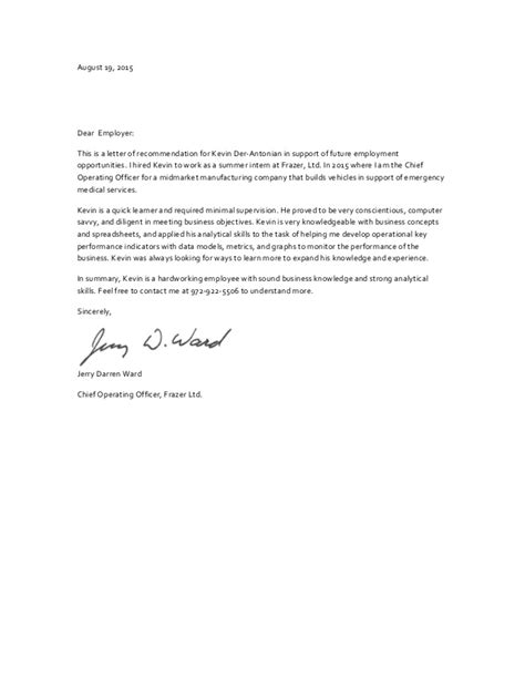 Reference Letter For Future Kevin Der Antonian Recommendation Letter