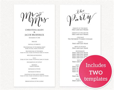 Diy Wedding Templates 183 Wedding Templates And Printables Diy Wedding Program Template