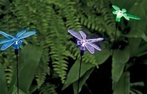 solar powered dragonfly garden lights solar dragonflies light up nighttime gardens earthtechling