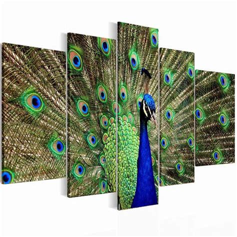 peacock home decor ebay framed 5panel green peacock canvas print wall art pictures