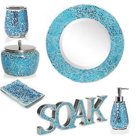 Aqua Sparkle Mosaic Bathroom Accessories Set Ebay Aqua Bathroom Accessories Sets