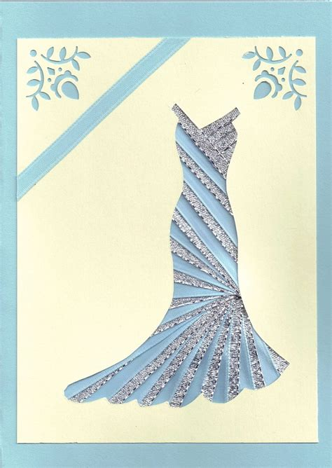 Folded Dress Card Template by Ribbon Iris Fold Card Dress In Silver And Blue Iris