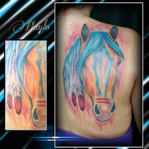 war horse tattoo watercolor style custom american war by haylo