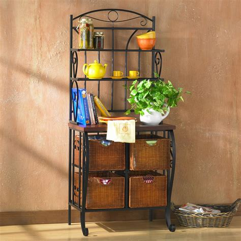 Kitchen Bakers Rack Cabinets Sei Iron Wicker Baker S Rack Free Standing Baker Racks