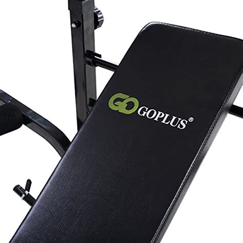 flat bench with rack goplus adjustable foldable weight lifting flat bench rack set fitness exercise