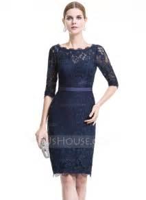 sheath column scoop neck knee length lace cocktail dress