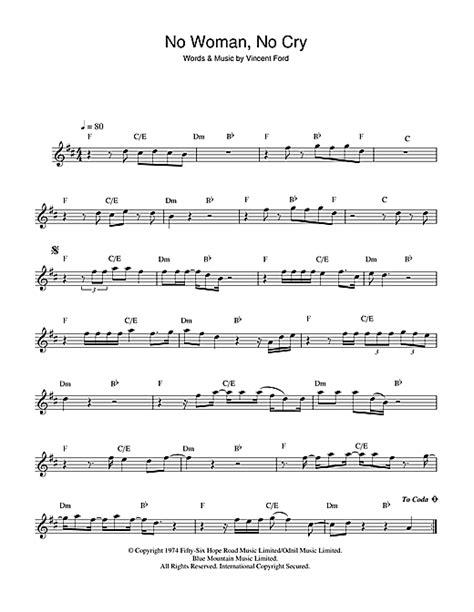 Testo No No Cry No No Cry Sheet By Bob Marley Alto Saxophone