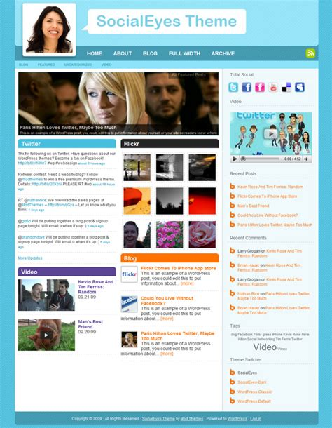 socialeyes social media wordpress template wp templates