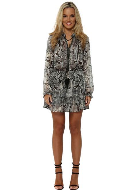 Who Wore It Better Couture Chiffon Ruffle Dress by Just M Grey Snakeskin Print Mini Dress