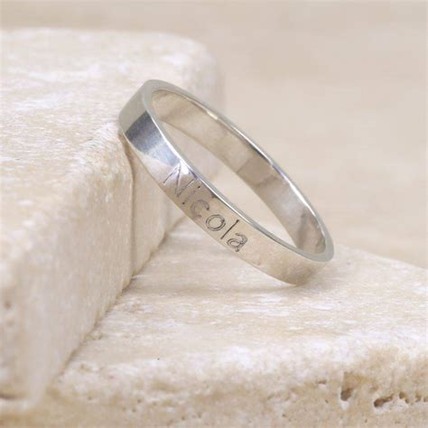 engraved sterling silver name ring by