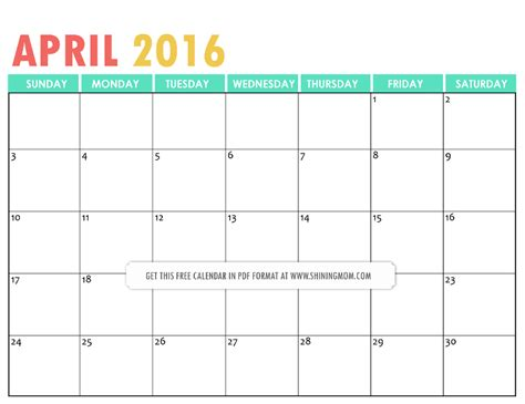 printable planner april 2016 cute april 2016 calendar printable pdf calendar template