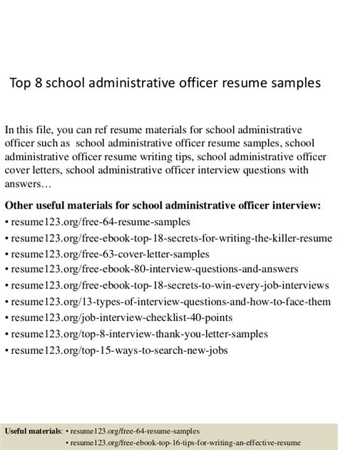 sle resume for school administrative officer top 8 school administrative officer resume sles