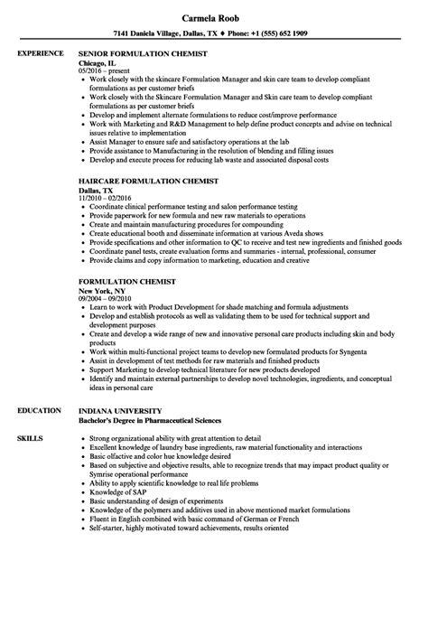 Chemist Resume Sle chemist resume sles 28 images quality chemist resume