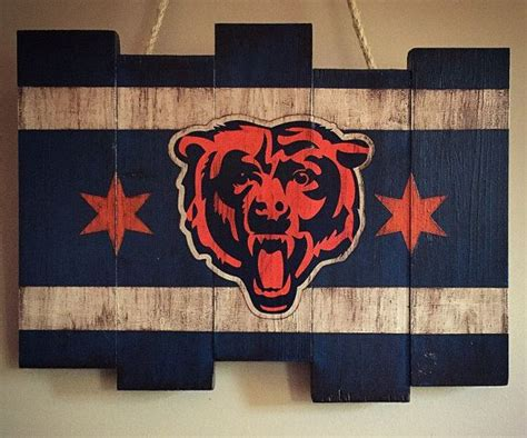 alabama football decor decorative accessories for the home chicago bears wooden stained flag by diamondeyeschicago on