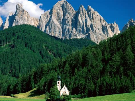 dolomite mountains wallpaper forest italy green mountains cliff church