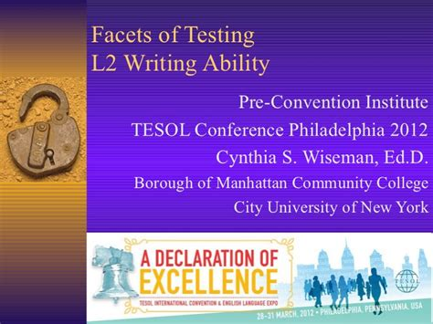 Facets Of Essay by Wiseman Facets Of L2 Writing Tesol 2012
