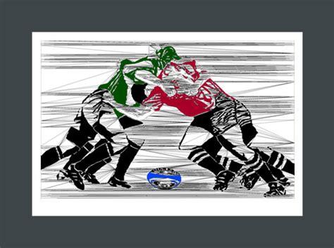 Draw In 3d Online dark green and maroon rugby scrum art print at biyoart sports