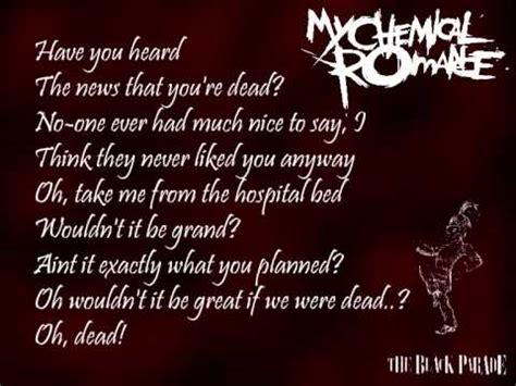 dead end game lyrics my chemical romance the end and dead lyrics youtube