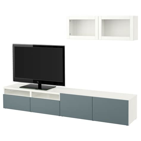 besta glas best 197 tv storage combination glass doors white valviken