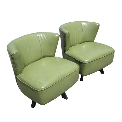 mid century modern green swivel slipper chairs ebay