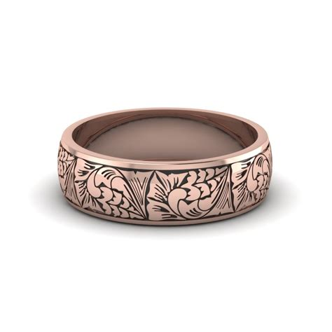 pattern gold wedding band unique and affordable 14k rose gold mens wedding band