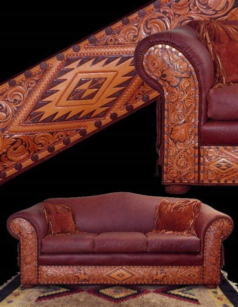 Tooled Leather Sofa Tooled Leather Sofa Western Rustic Furniture