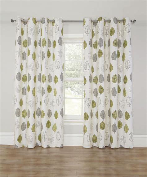 green print curtains new lined eyelet curtains 66 quot x 72 quot cream green leaf