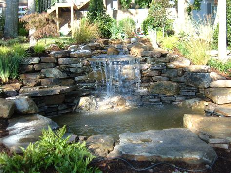 Backyard Pond With Waterfall by Backyard Waterfall
