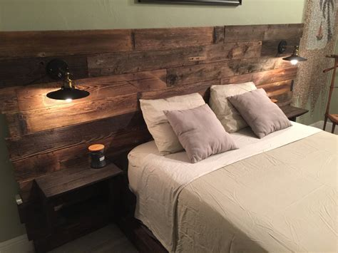 Light Wood Headboard Rustic Headboard Reclaimed Headboard Nightstand By Cecustoms