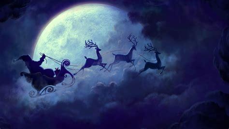 wallpaper santa claus reindeer chariot full moon hd celebrations christmas