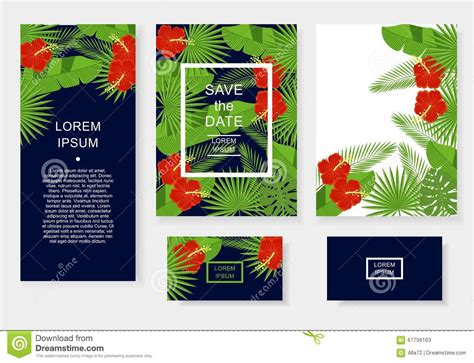 tropical card template template with tropical flowers and leaves pattern flyer