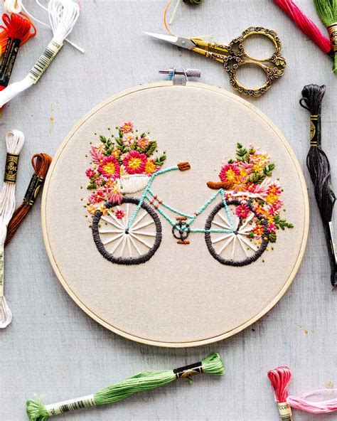 Home Decor Ideas Pictures by Embroidered Bicycle With Basket Of Flowers Martha Stewart