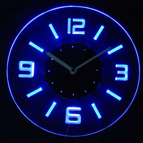 cnc2001 b Round Numerals Illuminated Wall Neon Clock Sign LED Night Light 5054069998513 eBay
