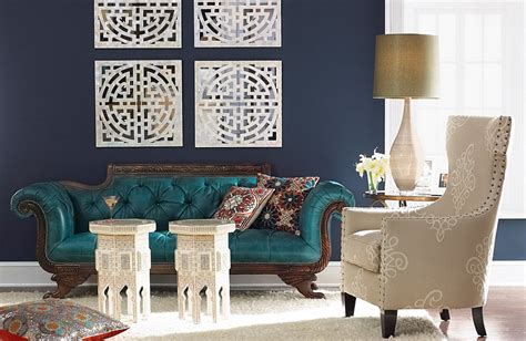 navy blue and teal living room
