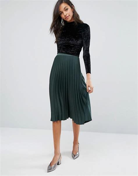 miss selfridge miss selfridge satin crepe pleated midi skirt