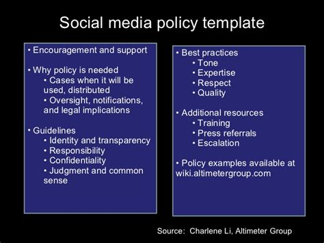 Social Media Policy Template Encouragement Simple Social Media Policy Template