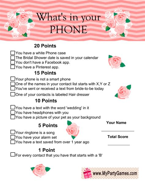 free printable bridal shower games what s in your purse what s in your phone game floral printable free