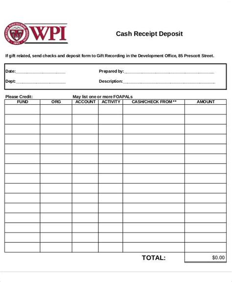 receipt form receipt forms in pdf